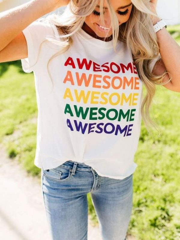 Rainbow Awesome woman casual T-Shirt